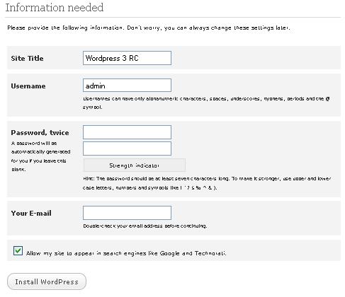 Instalasi admin WordPress 3.0